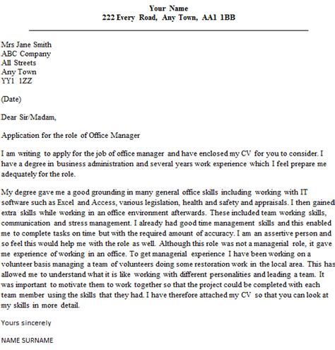 office manager cover letter sle lettercv com