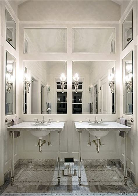 Mirrored Wall Bathroom Lucite Washstand Contemporary Bathroom Bend Highlands