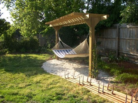 Backyard Hammock Ideas by Pergola With Hammock Outdoor Projects