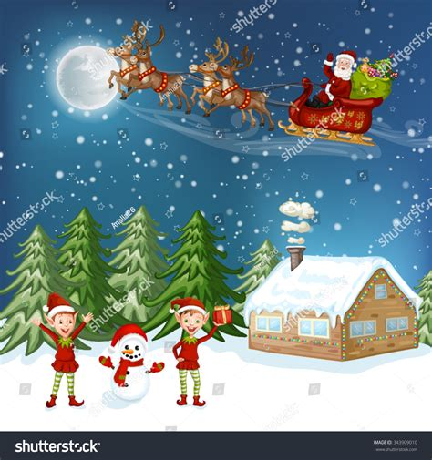 christmas cards shutterstock merry card illustration house stock vector 343909010