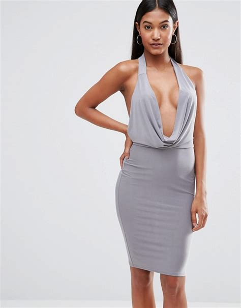 club l club l high neck bodycon dress with cowl front
