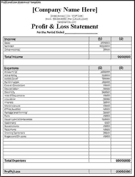7 simple profit and loss template procedure template sle