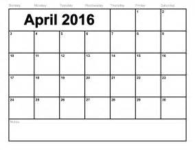 blank calendar template to print april 2016 calendar printable template 8 templates