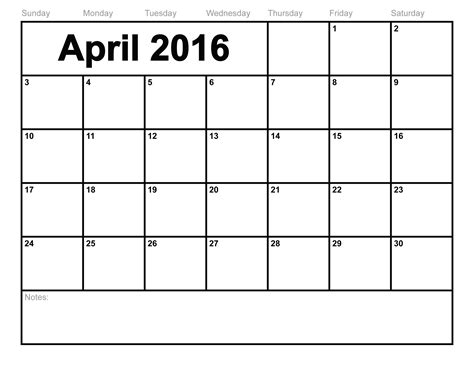 april 2016 calendar printable template 8 templates