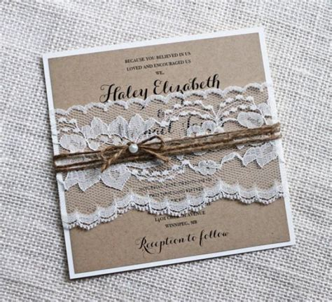 rustic wedding invitations lace wedding invitation kraft elegant wedding invitation shabby