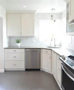 White Kitchen Cabinets With Tile Floor White Kitchen With Gray Plank Porcelain Tile Floor