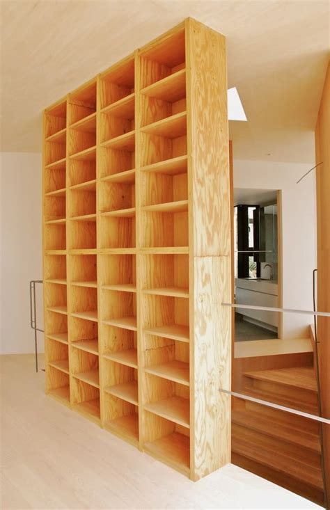 plywood bookcase  seperate  kitchen   living