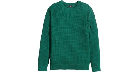 H M Textured Knit Jumper Khaki Green h m jumper in a textured knit in green for lyst