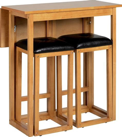 Kitchen Bar Furniture Seconique Caspian Oak Drop Leaf Breakfast Set With 2 Bar Stools Furniture Club