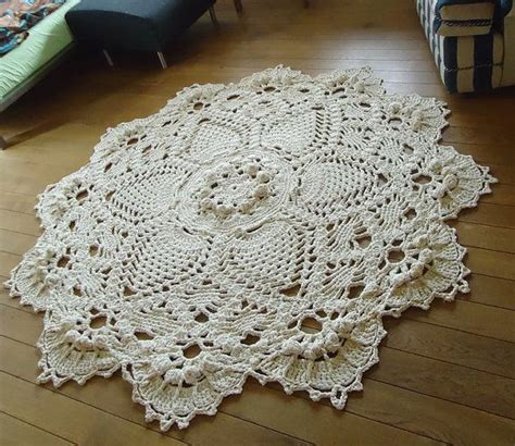 doily rug ready to ship beige 3d crochet doily rug floor rug large area rug rustic chic