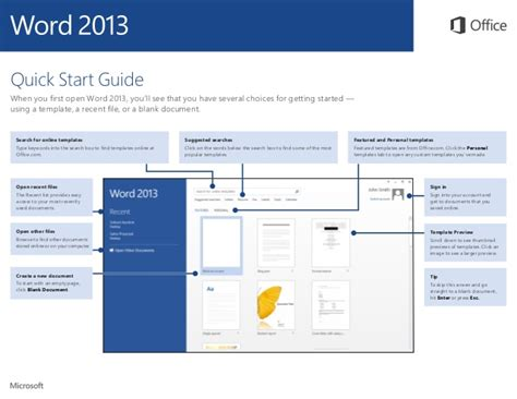 start guide template word 2013 start guide