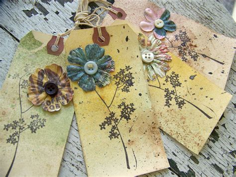 Handmade Tags For Gifts - handmade vintage flower gift tags vintage gift tags grunge