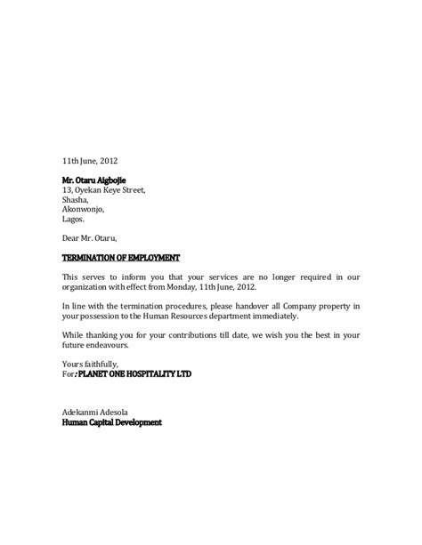 Sle Letter Service No Longer Needed Termination Letter Of Salau Haruna
