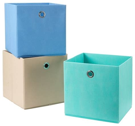 aqua blue desk accessories 3 pack foldable fabric storage bins soft storage cubes in