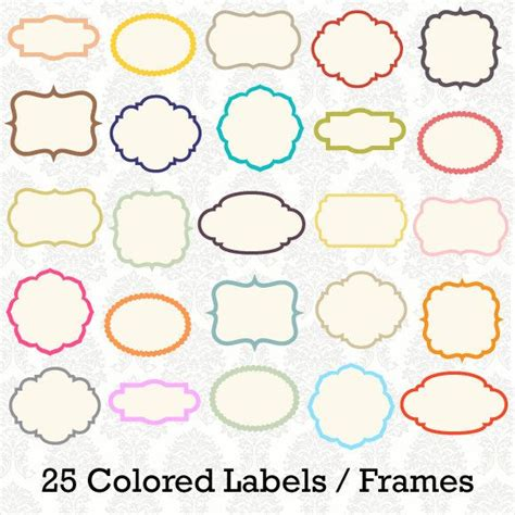colored labels 25 digital colored label frames borders for scrapbooking