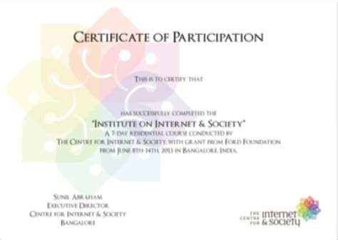volunteer award certificate template institute on internet amp society event report the centre