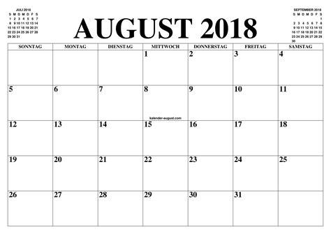 Kalender 2018 August Und September Kalender August 2018 August 2018 Kalender Zum Ausdrucken