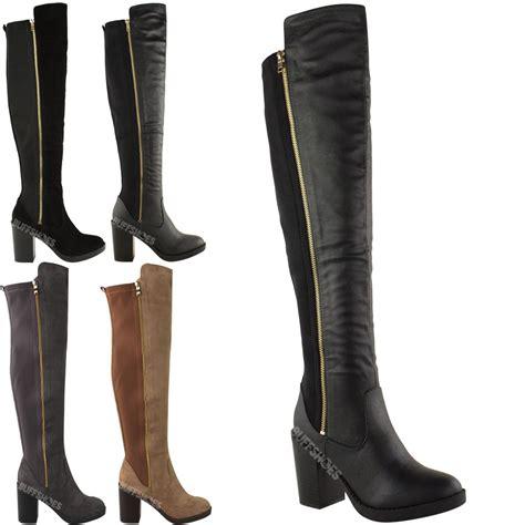 thigh high boots chunky heel womens chunky heel the knee thigh high winter