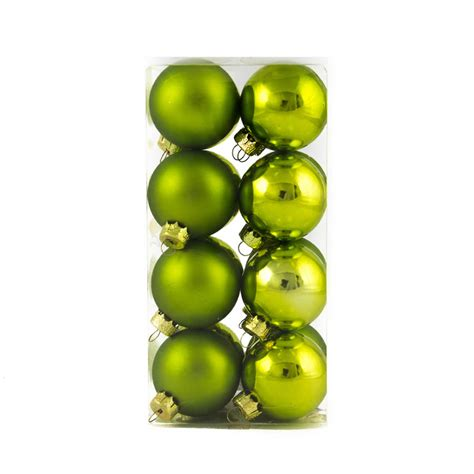 lime 4cm bauble 16pk christmas decorations shatterproof