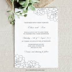 succulent wedding invitation diy digital printable 100 text