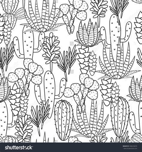 desert background coloring page succulents cacti plant vector seamless pattern stock