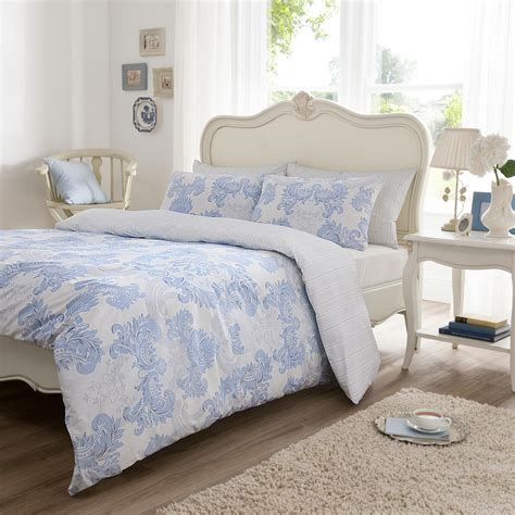 Bedspreads And Duvet Covers Vantona Kensington Scroll Design Duvet Cover Set Blue