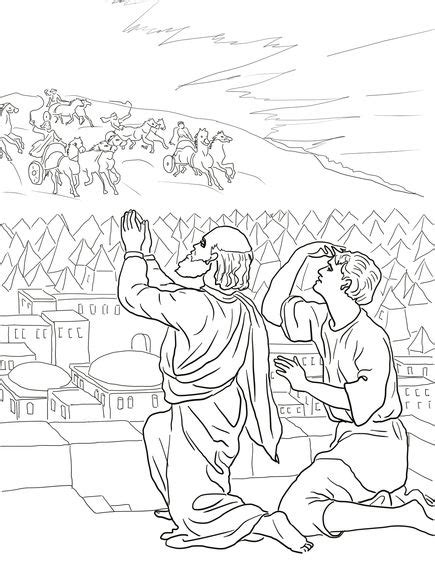free bible coloring pages elisha elisha fiery army coloring page vbs mountain climbing