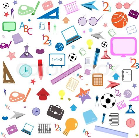 background wallpaper education icon seamless pattern with colorful school icons on background