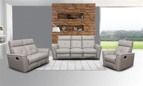 Grey Leather Set by Negati Recliner Sofa Set In Light Grey Leather Leather