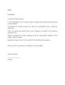 Authorization Letter For Certification authorization letter to pick up