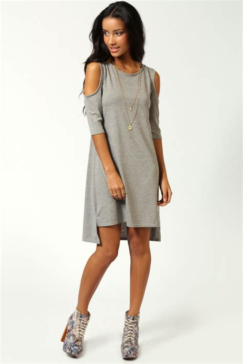 boohoo womens rosie cut out shoulder dip back tunic