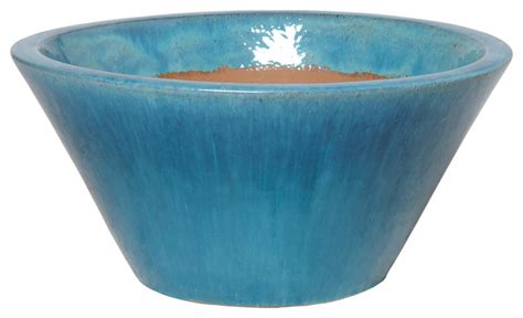 Round Low Planter, Turquoise, Large   Contemporary