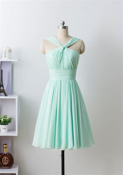 knee length mint green bridesmaid dresses