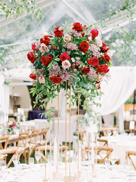 tall centerpieces     reception tables