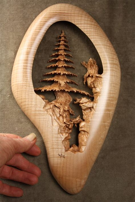 deep ravine  pierced relief wood carving  gary wiz