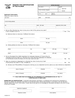 Maryland Certificate Letter Form 130 Fillable Request For Certification Of Tax Filings