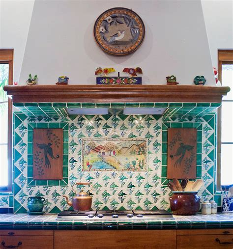 Tiled Kitchen Backsplash Spanish Hacienda Homestead Southwestern Kitchen