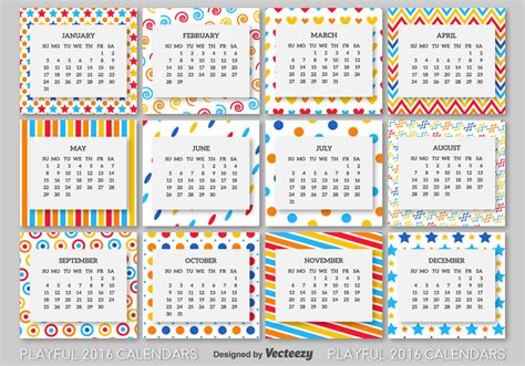 2016 calendar template download free vector art stock