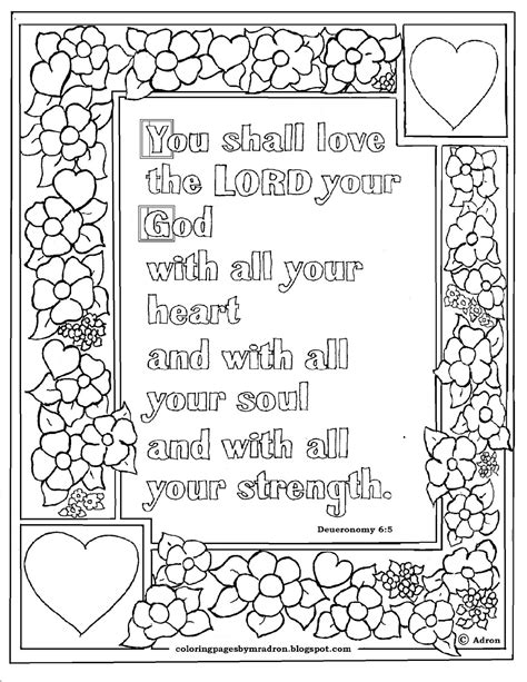 Deuteronomy 6 Coloring Pages coloring pages for by mr adron deuteronomy 6 5