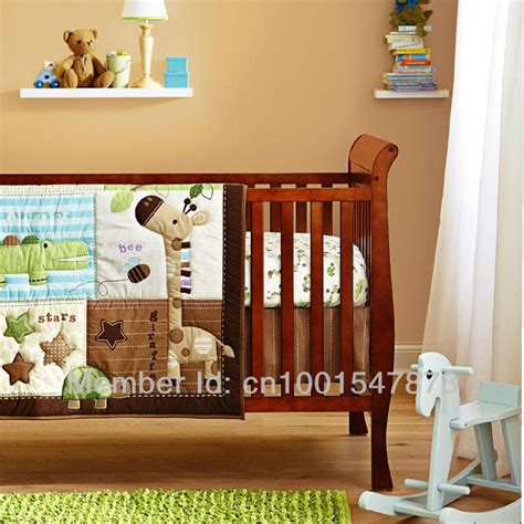 Giraffe Bedding Sets Free Shipping Giraffe 3 Pcs Baby Crib Bedding Set Quilt Fitted Sheet In Bedding Sets From