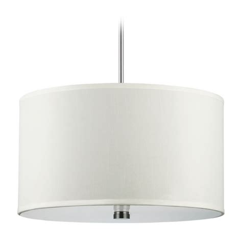 Modern White Nickel Drum Shade Modern Drum Pendant Light With White Shades In Brushed