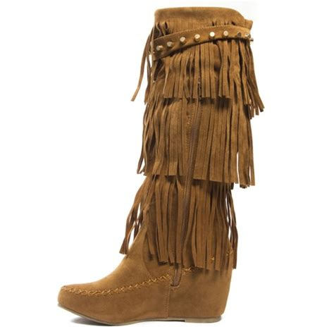 51 shoes fringe moccasin boot high heel