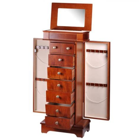 jewelry armoire for women women s standing jewelry armoire w mirror in mahogany