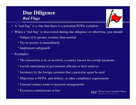 Flag Report Due Diligence Template Fcpa Bullet Points