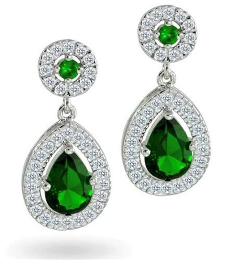jewelry earrings gifts bling jewelry cz green bridal teardrop