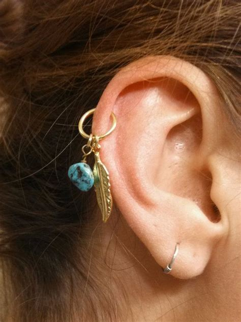 turquoise gold cartilage hoop silver feather earring boho
