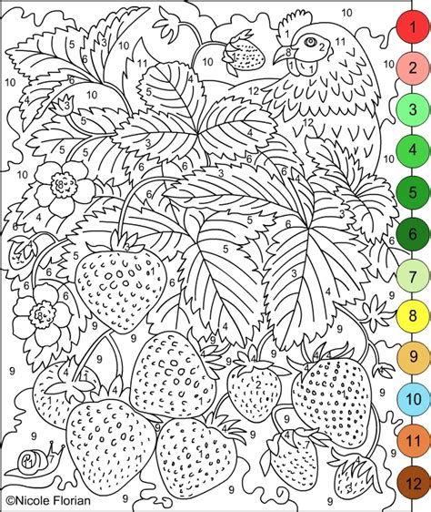 free coloring pages of color by number adult