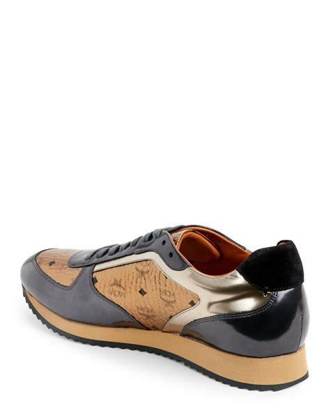 mcm sneakers mens mcm bronze metallic visetos jogger sneakers in brown for