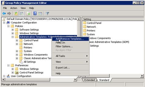 user configuration administrative templates control panel