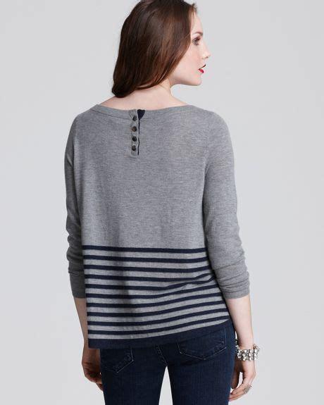 Sweater Merah Black Grey Bordir joie border stripe sweater in gray grey